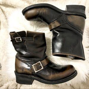 Frye Engineer Leather Short Boots Dark Brown 6.5M